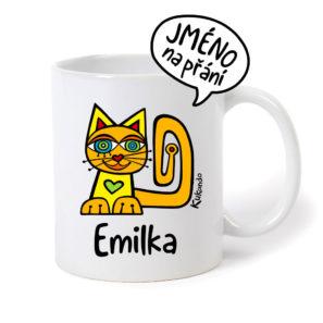 originální dětský hrnek se jménem as kočkou