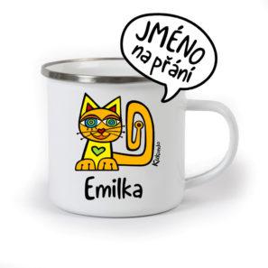 originální dětský plecháček se jménem as kočkou