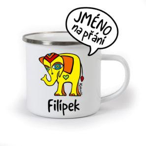 originální dětský plecháček se jménem ase slonem
